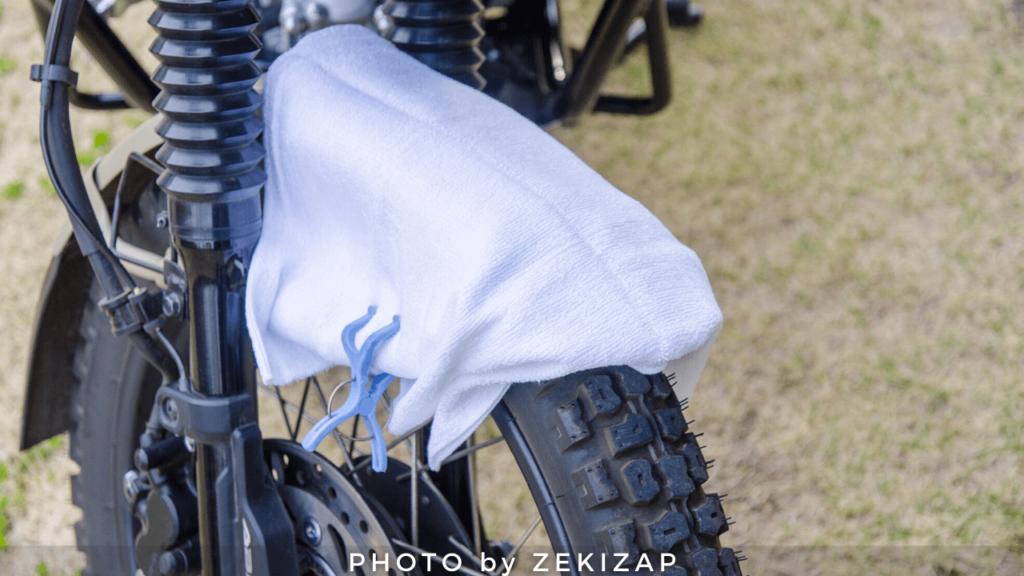 CT125ハンターカブのフロントフェンダー塗装がバイクカバーと擦れないように対策した画像