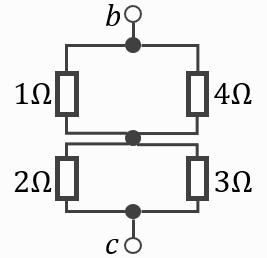 電験三種2020理論問7の回路をテブナンの定理で短絡させた図