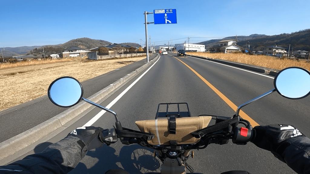 栃木県道219号を松田川ダムに向けてCT125ハンターカブで走行している画像